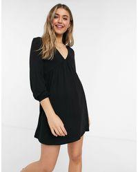 Pull&Bear V Neck Smock Dress - Black
