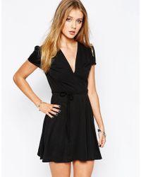 Glamorous Wrap Front Tea Dress - Black