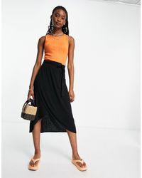 Pieces Tie Waist Wrap Midi Skirt - Black