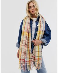 Pieces Oversized Check Scarf - Gray