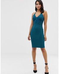 Lipsy Floral Applique High Neck Bodycon Dress In Teal - Green
