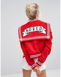 Lazy Oaf - Varsity Jacket With Bored Badge - Lyst