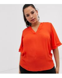 Simply Be Tunic Top In Tomato - Red