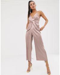 ASOS Asos Design Petite Twist Knot Front Strappy Satin Jumpsuit - Pink