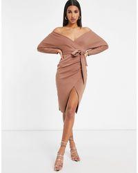 ASOS Bardot Wrap Batwing Sleeve Midi Dress With Self Tie Belt - Brown