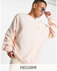 Reclaimed (vintage) Свободный Свитшот Розового Цвета Из Органического Хлопка С Вышивкой Волка Inspired-розовый Цвет - Многоцветный