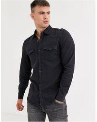 Pull&Bear Western Denim Shirt - Black