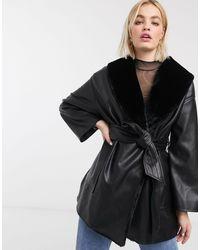 Monki Черная Куртка Из Искусственной Кожи С Подкладкой Из Искусственного Меха И Поясом -черный