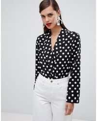 UNIQUE21 - Unique 21 Polka Dot V Neck Bodysuit With Collar - Lyst