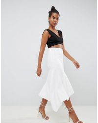 ASOS - Tailored Pencil Skirt With Asymmetric Ruffle - Lyst