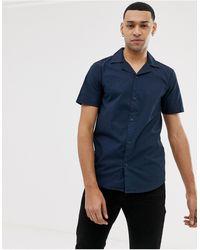 Solid Slim Fit Shirt Revere Collar Navy - Blue