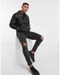 TOPMAN – Biker-Jacke aus Leder - Schwarz