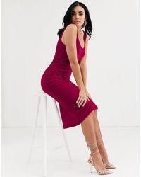 ASOS Velvet Scoop Neck Midi Slip Dress - Pink