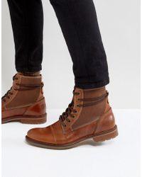 ALDO - Gweawien Leather Lace Up Boots In Tan - Lyst