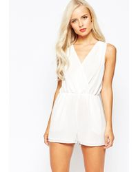 True Decadence Wrap Front Playsuit - Cream - Natural