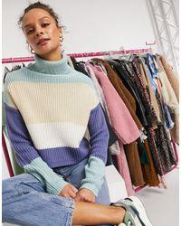 In The Style Укороченный Трикотажный Джемпер С Разноцветными Полосами Plus X Billie Faiers-многоцветный - Синий