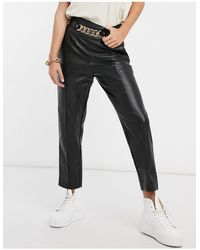 River Island Faux Leather Belted Trouser - Black