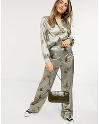 Chi Chi London Tiger Print wide-legged Trousers Co-ord - Brown