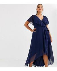 ASOS Asos Design Curve Cape Back Dipped Hem Maxi Dress - Blue