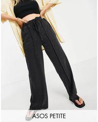 ASOS Asos Design Petite Straight Leg Trackies With Pintuck - Black