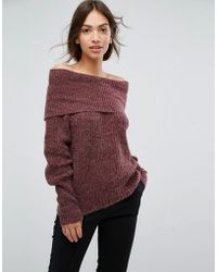 Vila - Off The Shoulder Ribbed Sweater - Lyst