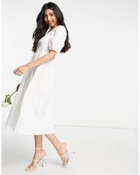 Y.A.S Bridal Poplin Midi Dress With Shirred Top And Puff Sleeves - White