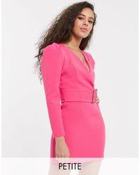 River Island - Vestitino con cintura e maniche a sbuffo rosa - Lyst