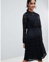 Yumi' Robe chemise en dentelle - Noir