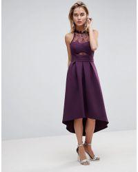 ASOS DESIGN - Asos Halter Lace Top Dip Back Prom Dress - Lyst