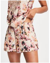 Lindex Ella M Nora Blurred Floral Print Short - Pink