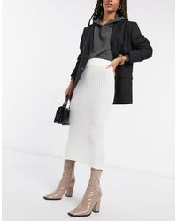 AX Paris Falda midi color crema - Negro