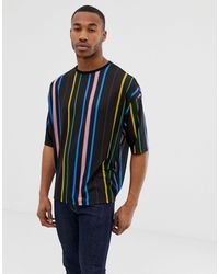 ASOS Plus Oversized T-shirt With Rainbow Vertical Stripe - Black