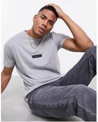 Jameson Carter Matt Leather Patch T-shirt - Grey