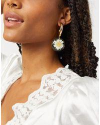 Monki Daisy Hoop Earrings - Metallic