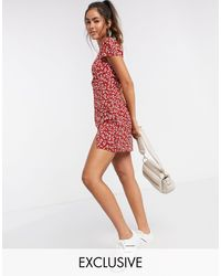 Fashion Union - Платье Мини С Цветочным Принтом И Разрезом -красный - Lyst