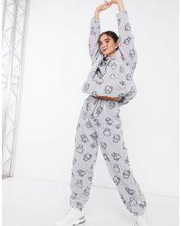 New Girl Order Флисовые Джоггеры Со Сплошным Принтом Kitty От Комплекта X Hello Kitty-серый
