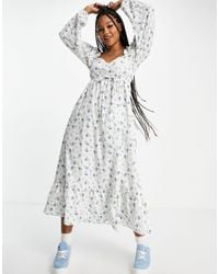 Miss Selfridge Robe tendance folk mi-longue - Bleu Fleuri - Blanc