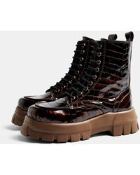 TOPSHOP Ava Black Chunky Lace Up Boot-multi