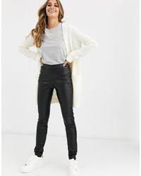 Vero Moda Faux Leather Trousers - Black
