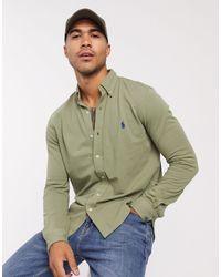Polo Ralph Lauren Узкая Рубашка Из Пике Шалфейно-зеленого Цвета С Логотипом -зеленый Цвет