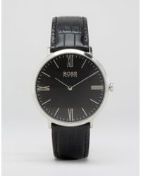 BOSS - Hugo Slim Ultra Jackson Leather Watch In Black & White Dial - Lyst