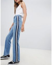 Daisy Street Jeans With Sports Tape Detail - Blue