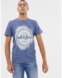 Jack & Jones T-Shirt mit Logo und Spray-Print - Blau