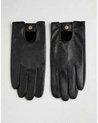 ASOS Asos Leather Driving Gloves In Black