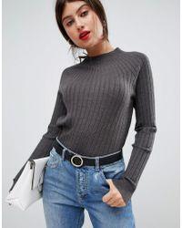 Vila - High Neck Knitted Rib Sweater - Lyst