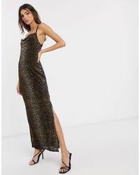 River Island Leopard Print Velvet Maxi Slip Dress With Cowl Neck - Brown