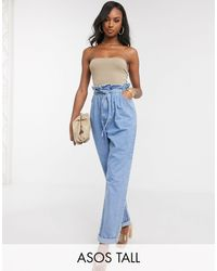 ASOS Asos Design Tall Tapered Leg Jeans With Paper Bag Waist - Blue