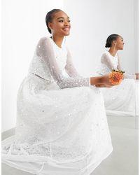 ASOS Свадебное Платье С Кроп-топом И Россыпью Пайеток Marie-белый