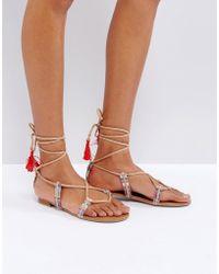 Call It Spring - Grallan Flat Tassel Sandals - Lyst
