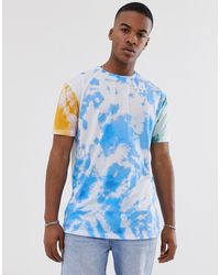 ASOS – Lässiges, langes T-Shirt mit Batik-Waschung - Blau